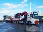 802271 volumecombinatie vrachtwagenopbouw met kraan en wipkar aanhangwagen