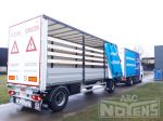 802320 aanhangwagen met houten bacheplanken schuifzeilopbouw en aluminium zijborden