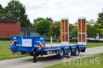 802390 tridem aanhangwagen blauw hydraulische rampen